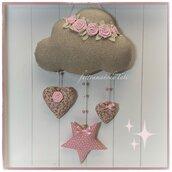 Fiocco nascita nuvola in cotone tinta naturale laminato oro con roselline,stella e due cuori sui toni del rosa