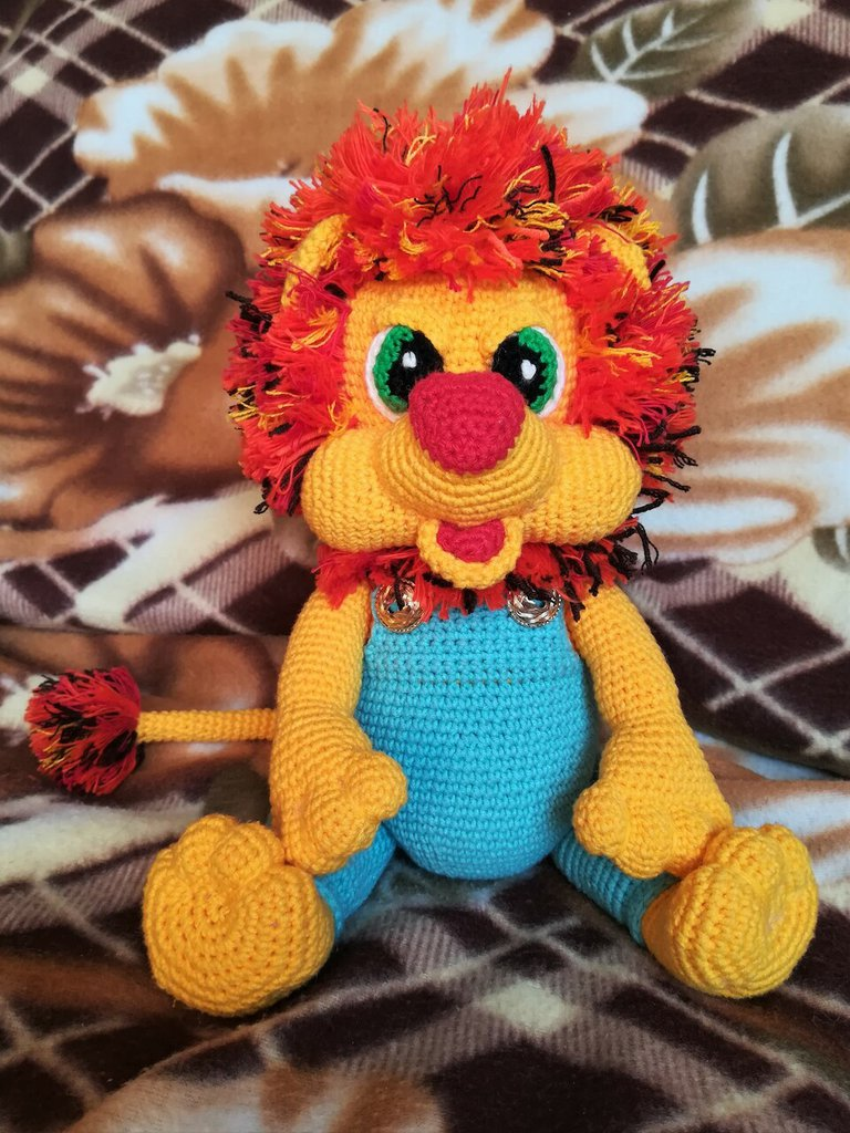 Leone peluche giocattolo crochet Archibald  § Hand Knitted Crochet Toys