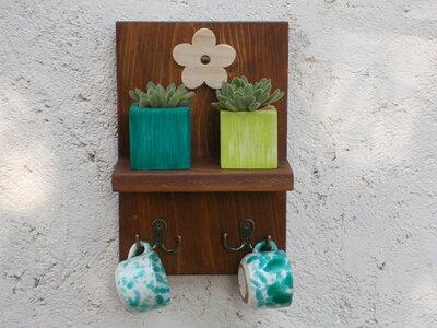 Mensola in legno con ganci, mensola porta tazze, organizer cucina