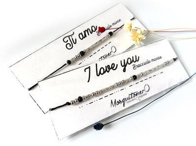 Braccialetto uomo donna con codice morse con scritta Ti amo regalo per fidanzati e marito in cordino nero e perline in colore argento, San Valentino
