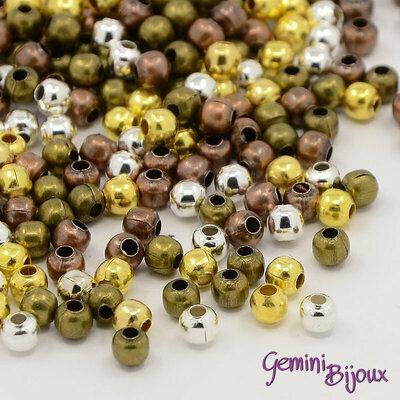 Lotto 10 gr. perline distanziatrici 3 mm. colori mix