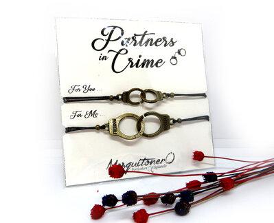 Bracciale coppia MANETTE Partners in crime donna e uomo in metallo bronzato, idea regalo innamorati migliore amica San Valentino