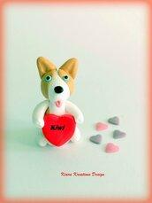 Decorazione con cane corgi con cuore personalizzato con il nome, idea regalo per san valentino per amanti dei cani