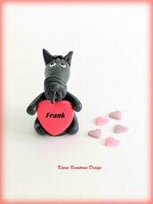 Decorazione con cane scottish terrier con cuore personalizzato con il nome, idea regalo per san valentino per amanti dei cani