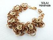 Bracciale da donna floreale Oro/Bronzo in Alluminio Diamantata chainmaille - WAB03