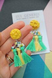 orecchini multicolore _Carnival_ in fimo forme creative con frange _086_