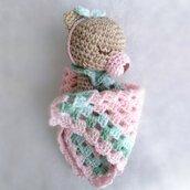 Doudou Rosabella per neonata in lana morbidissima