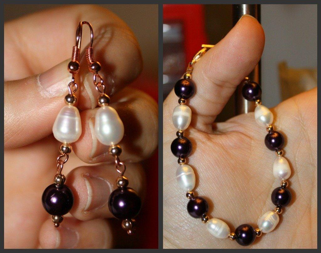 completo con perle viola e perle di fiume