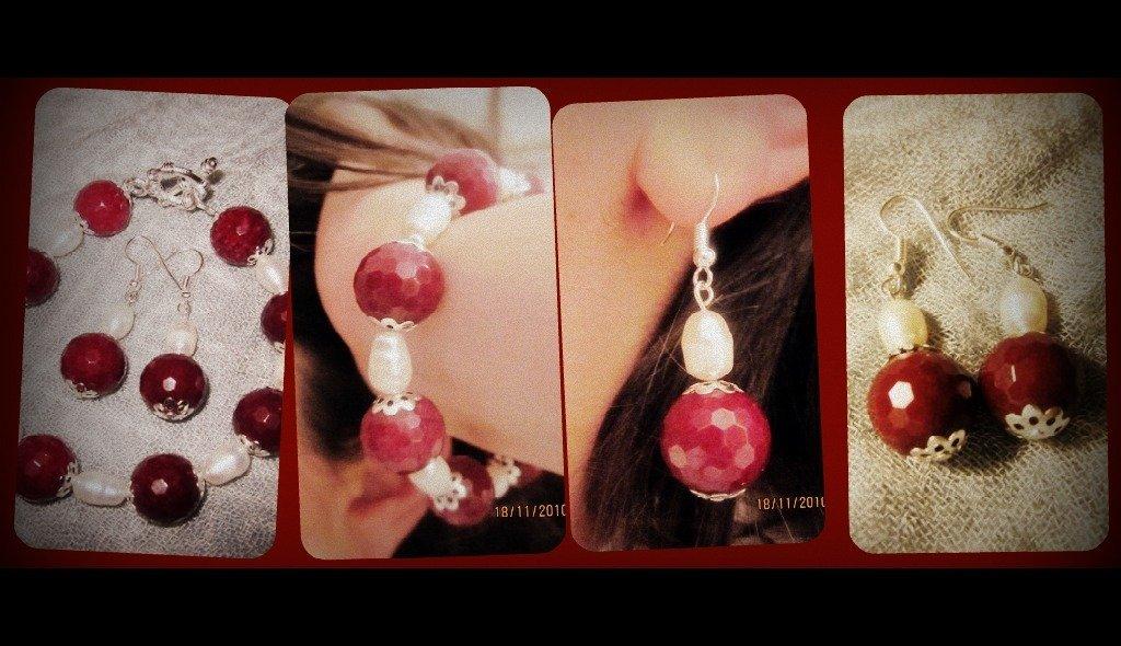 completo con radice di rubino e perle di fiume