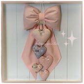 Fiocco nascita in cotone rosa pesca con cuori sui toni rosa pesca e grigio lilla