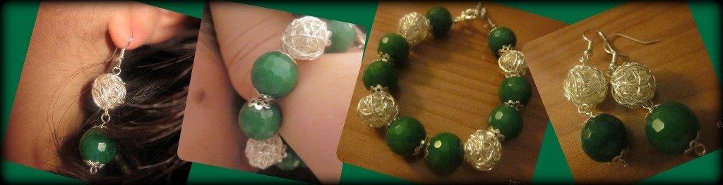 completo con radice di smeraldo e palline in argento intrecciate
