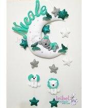 Fiocco nascita, bambino, bambina, orso, luna stella