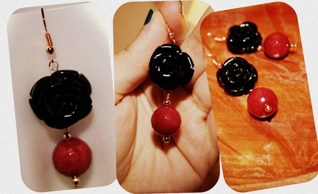 orecchini con radice di rubino e rose in pasta sintetica dura