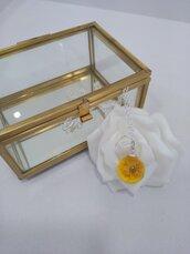 Collana argento 925 con ciondolo resina fatto a mano ranuncolo giallo sfere botaniche collana donna corta