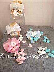 12 porta confetti in feltro e pannolenci con gessetto