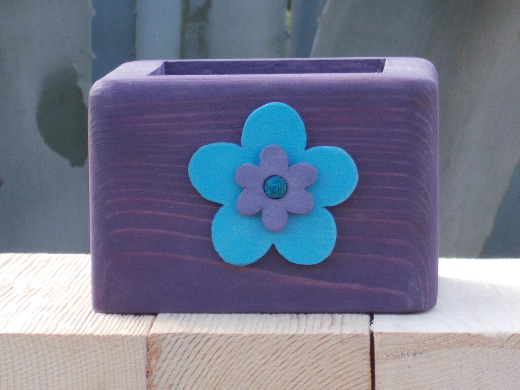 Vaso portapianta in legno, minifioriera, cachepot in legno, scatola portaoggetti