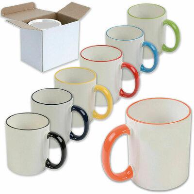 Tazza bianca in ceramica con bordi e manico colorati. Da personalizzare. Scatolo incluso