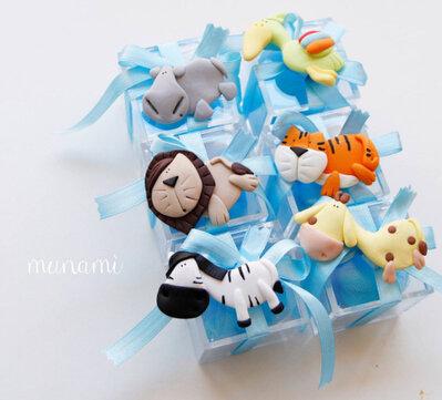 Bomboniere battesimo nascita animali calamita fimo scatolina plexiglass