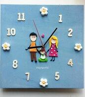 Orologio da parete personalizzato famiglia animali fimo