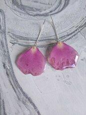 Orecchini donna lunghi con petali di rosa rosa fiori veri fiori secchi orecchini fatti a mano in resina