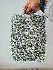 Shopper in fettuccia di cotone con manici