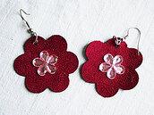 orecchini pendenti in ecopelle fiori fatti a mano