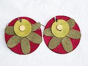 orecchini pendenti in ecopelle decorazione astratta