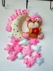 Fiocco nascita bambina personalizzato fatto a mano feminuccia classico pannolenci rosa