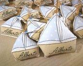 Bomboniera barchetta porta confetti e tag,  misura piccola