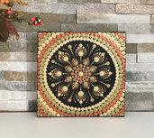 Quadro mandala. Mandala dipinto a mano con colori acrilici con la tecnica del puntinismo