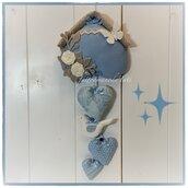 Fiocco nascita nido in cotone azzurro e beige con cuori e uccellino sui toni azzurro bianco