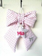 Fiocco nascita bambina personalizzato fatto a mano feminuccia classico rosa