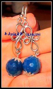 orecchini con agata blu