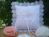 Wedding ring pillow in soft white cotton, with beads, lace and satin ribbons.