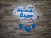 Fiocco nascita nuvoletta in pannolenci con i cuori azzurra