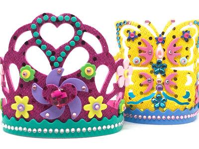 Tiara principessa per carnevale in gomma eva, strass e paillettes