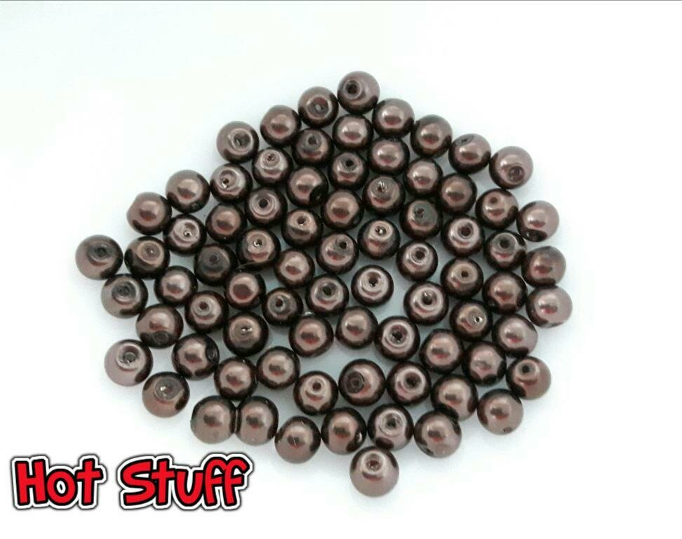 10 Perline di Vetro cerato - Marrone (6mm)