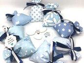Bomboniera con sacchetto confetti, nastri e bigliettino personalizzato per battesimo, festa nascita, comunione