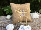 Jute wedding ring pillow for rustic lovers