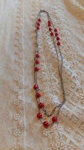 Collana lunga da mettere doppia in acciaio inox e perle fucsia