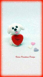 Decorazione con cane barboncino con cuore personalizzato con il nome, idea regalo per san valentino per amanti dei cani