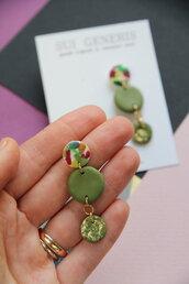 orecchini verde oliva e multicolore _Carnival_ pendenti tondi _094_