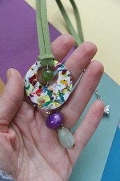collana in fimo, nabuk e pietre dure multicolore collezione _Carnival_ coordinabile