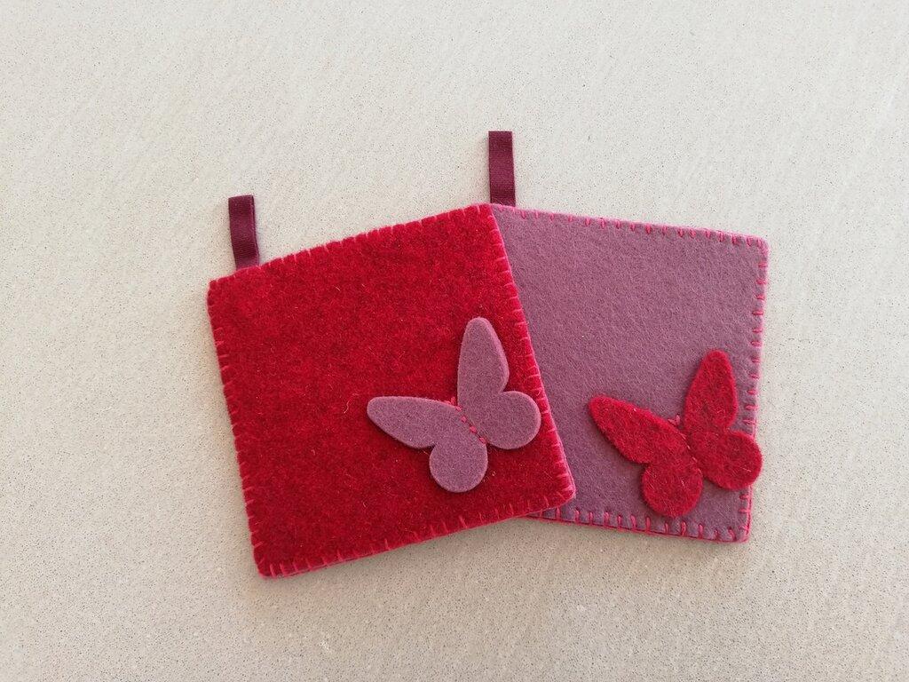 Presine bicolore rosso-rosa feltro
