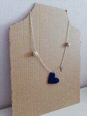 Collana 1 giro cuore feltro blu