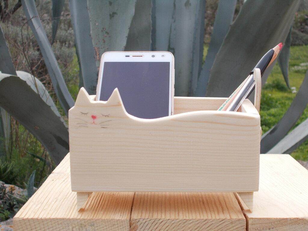 Contenitore in legno a forma di gatto, gatto in legno portaoggetti
