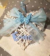 Cuore vimini legno shabby azzurro Farfalla Fiocco nascita Ghirlanda