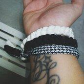 Tris braccialetti Black&White in fettuccia