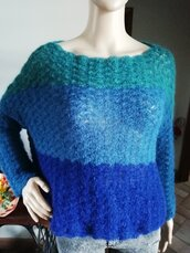 Maglioncino in lana kid mohair in gradazione di blu