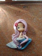 Ciondoli in Fimo, Sirene Per Bijoux 5 cm circa, fatte a mano.